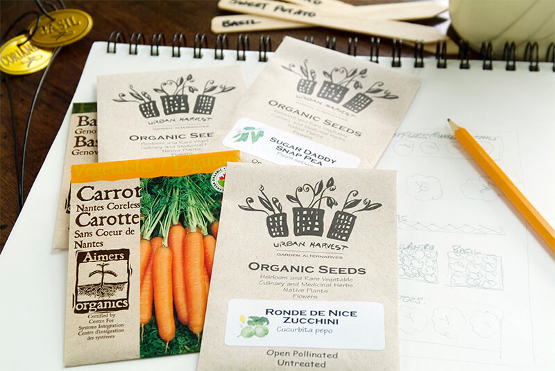 Free-form journals provide places for seed packets and garden sketches.